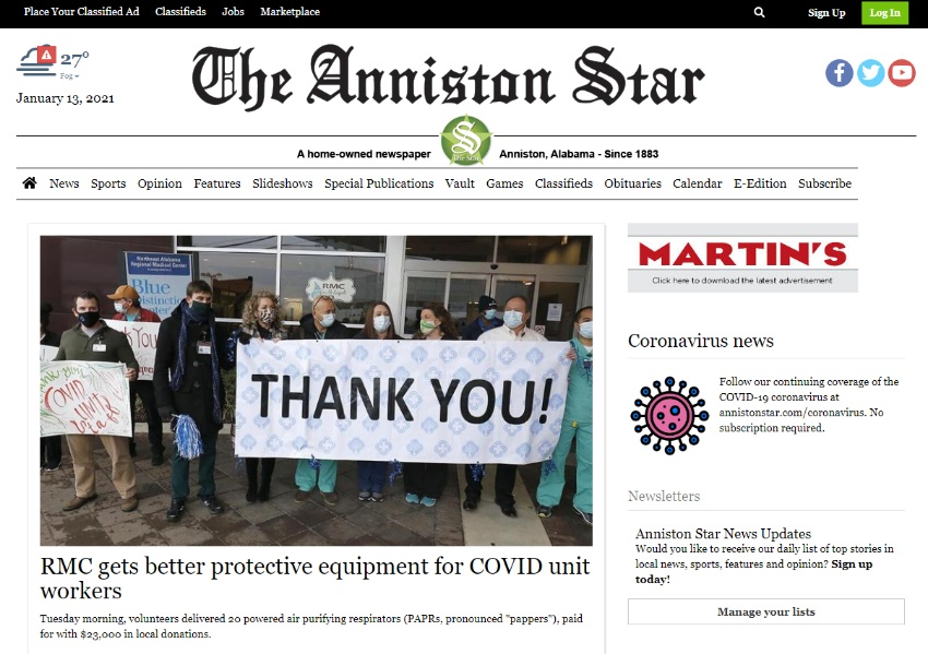 Anniston Start front page